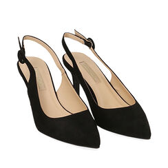 Slingback negro de microfibra, tacón 7 cm, Zapatos, 172133673MFNERO035, 002a
