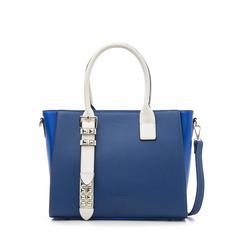 Borsa grande blu in eco-pelle con borchie, Borse, 131900944EPBLUEUNI, 001a