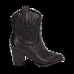 Santiags noirs, talon 8,5 cm, CHAUSSURES, 170581020EPNERO035, 001a