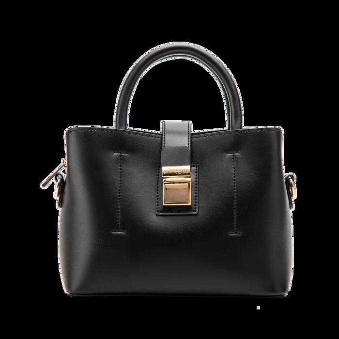Mini bag nera in ecopelle con tracolla a bandoliera, Primadonna, 122429139EPNEROUNI