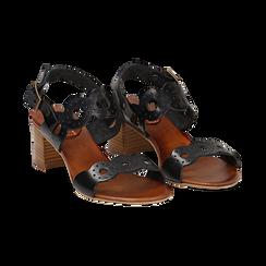 Sandali neri in vera pelle, tacco 5 cm, Saldi, 137272101VANERO035, 002a