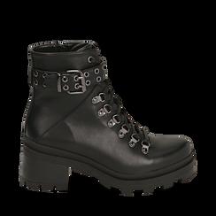 Hiking boots neri in eco-pelle, tacco 6 cm , Stivaletti, 142828201EPNERO035, 001a
