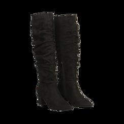 Stivali neri scamosciati con gambale drappeggiato, tacco quadrato medio 5 cm, Primadonna, 122707419MFNERO, 002 preview