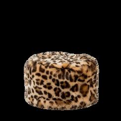 Colbacco leopard in eco-pelliccia, Saldi Abbigliamento, 12B413001FULEOP3XL, 001a