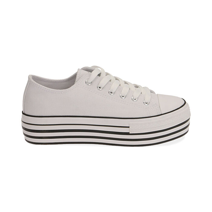 Sneakers bianche in canvas, Primadonna, 172642102CABIAN036