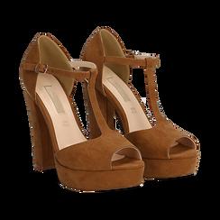 Décolleté open-toe marroni in microfibra con plateau, tacco 12,50 cm, Primadonna, 138410124MFMARR035, 002 preview