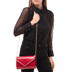 Clutch rossa borchiata in vernice, Borse, 145186501VEROSSUNI, 002 preview