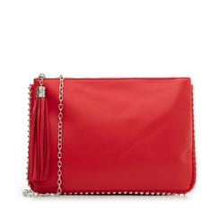 Bustina rossa in eco-pelle con profilo di mini-boules, Borse, 113308956EPROSSUNI, 001a