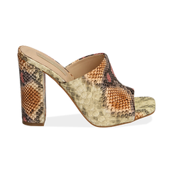 Mules rosa/beige in eco-pelle snake print, tacco 10,50 cm, Chaussures, 152709445PTRSBE036, 001 preview