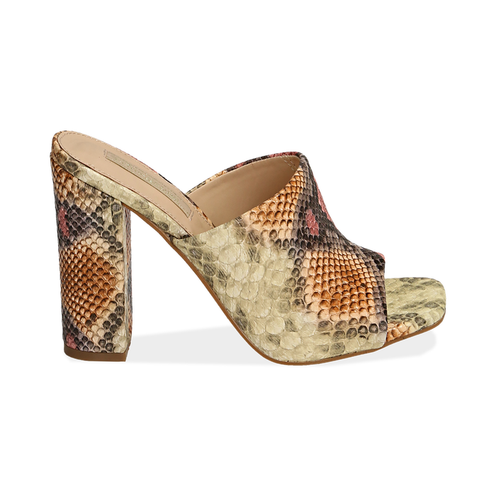 Mules rosa/beige in eco-pelle snake print, tacco 10,50 cm, Chaussures, 152709445PTRSBE036