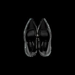 Décolleté nere con punta affusolata, tacco 9 cm, Scarpe, 128485101EPNERO, 004 preview