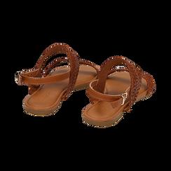 Sandali flat cuoio in eco-pelle intrecciata, Primadonna, 133600111EICUOI036, 004 preview