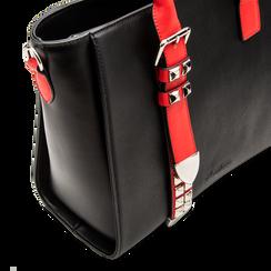 Borsa a mano nero-rossa in ecopelle con borchie, Borse, 121900944EPNERSUNI, 005 preview