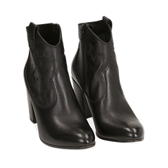 Botines de piel con estrellas bordadas color negro, tacón 7,50 cm, Primadonna, 157725907PENERO038, 002a