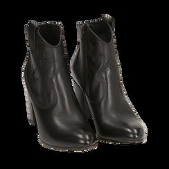 Ankle boots neri in pelle con stelle ricamate, tacco 7,50 cm, Primadonna, 157725907PENERO038, 002a