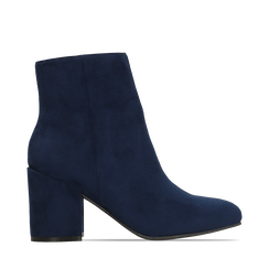 Ankle boots blu in microfibra, tacco 7,5 cm, Stivaletti, 142762715MFBLUE035, 001a