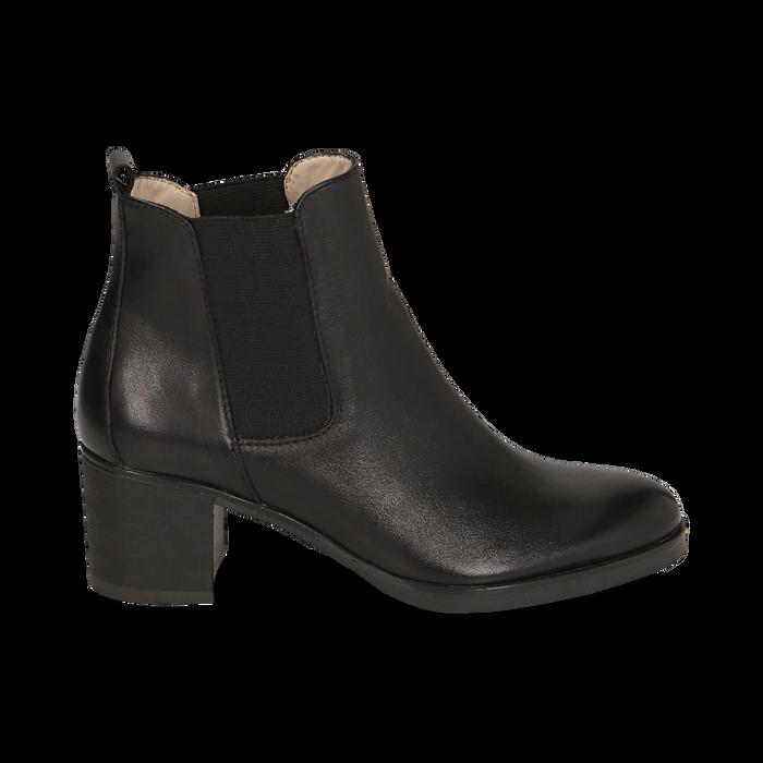 Chelsea boots neri in pelle, tacco 6 cm, Mid Season Sale, 157711439PENERO035
