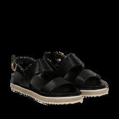 Sandali platform neri in eco-pelle, zeppa 4 cm, Primadonna, 132172081EPNERO036, 002a