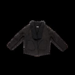 Giacca nera corta in eco-montone, Saldi, 12B408605MFNEROS, 001 preview