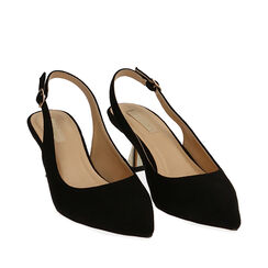 Slingback nere in microfibra, tacco 6 cm ,  Zapatos, 174954431MFNERO035, 002a