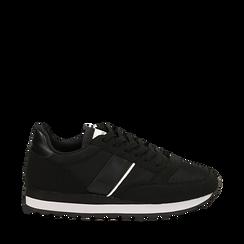 Sneakers nere in tessuto tecnico , Scarpe, 142619079TSNERO036, 001a