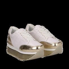 Sneakers bianche in eco-pelle con platform oro, Scarpe, 130751703EPBIOR038, 002a