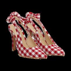 Décolleté Slingback bianco/rosse in tessuto Vichy, tacco 10,5 cm, Scarpe, 132167260TSBIRO035, 002 preview