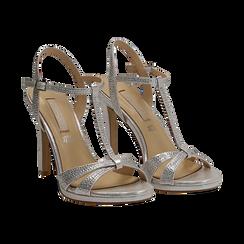 Sandalo argento in laminato, tacco 10,50 cm, Sandali con tacco, 132127402LMARGE036, 002 preview