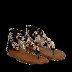 Sandali gioiello flat neri in raso , Primadonna, 133601507RSNERO035, 002a