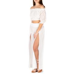 Pantaloni bianchi in tessuto paisley print, 150500269TSBIANUNI, 001a