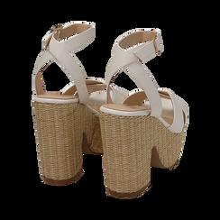Sandali bianchi, tacco-zeppa 11,50 cm, Scarpe, 154935671EPBIAN, 004 preview