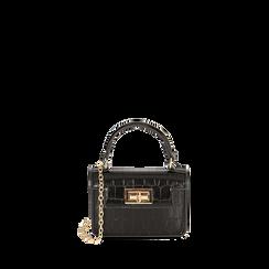Mini bag nera stampa cocco , Borse, 165123042CCNEROUNI, 001a