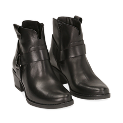 Camperos neri in pelle, tacco 5 cm , Scarpe, 141612598PENERO036, 002a