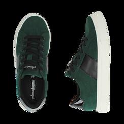 Sneakers verdi in microfibra, Scarpe, 142619071MFVERD036, 003 preview