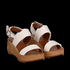 Sandali platform bianchi in eco-pelle, zeppa 5 cm , Saldi Estivi, 13C700258EPBIAN035, 002a