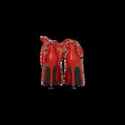 Décolleté rosse con lacci sul collo del piede, tacco stiletto 10 cm, Primadonna, 122166011EPROSS, 003 preview
