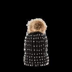 Berretto nero in lana con strass e pon-pon, Abbigliamento, 12B409806TSNERO, 001a preview