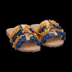 Ciabatte giallo/turchesi in rafia, Scarpe, 15K904447RFGITU, 002 preview