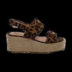 Sandali platform leopard in microfibra, zeppa in corda 7 cm , Saldi, 132708157MFLEOP035, 001 preview