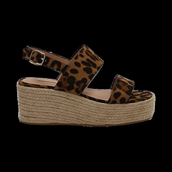 Sandali platform leopard in microfibra, zeppa in corda 7 cm , Saldi, 132708157MFLEOP035