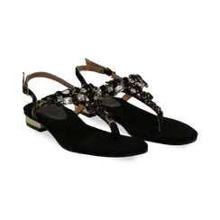 Sandali gioiello infradito neri in microfibra, Primadonna, 134994221MFNERO, 002 preview