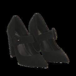 Décolleté Mary Jane a punta nere in microfibra, tacco 10,50 cm , Scarpe, 141785493MFNERO035, 002a
