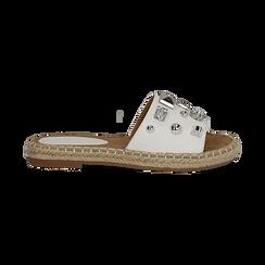 Mules espadrillas bianche in eco-pelle con gemme, Primadonna, 134900008EPBIAN035, 001 preview