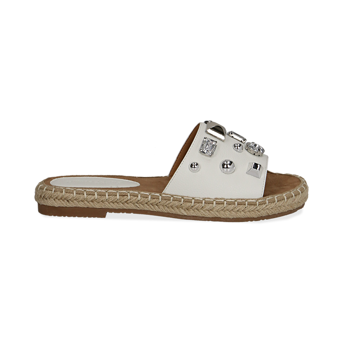 Mules espadrillas bianche in eco-pelle con gemme, Primadonna, 134900008EPBIAN035