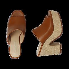 Mules cuoio in eco-pelle, tacco-zeppa 11 cm , Zapatos, 154903266EPCUOI036, 003 preview
