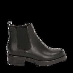 Chelsea boots neri in eco-pelle, tacco 4 cm , Scarpe, 140692012EPNERO035, 001a