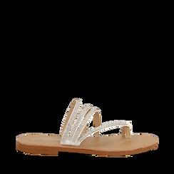 Sandali infradito con strass bianchi in eco-pelle, Saldi Estivi, 114926815EPBIAN035, 001a
