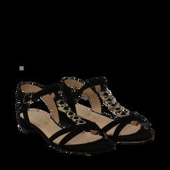 Sandali neri in microfibra con listini sottili, Primadonna, 139640152MFNERO035, 002a