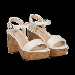 Sandali bianchi in eco-pelle, tacco in sughero 9 cm, Primadonna, 138402256EPBIAN036, 002 preview