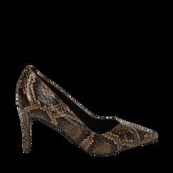 Décolleté noir/marron imprimé python, talon 8,50 cm , Primadonna, 164850650PTNEMA035, 001a